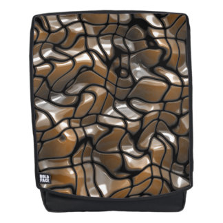 Brown Abstract Sea Design Backpack
