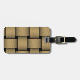 Brown abstract weave pattern luggage tag