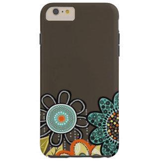 Brown abstracto florece el iPhone 6/6s más el caso Funda De iPhone 6 Plus Tough