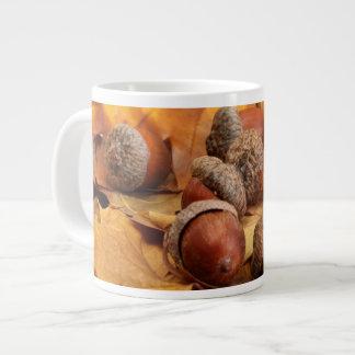 Brown Acorns On Autumn Leaves, Close Up Large Coffee Mug