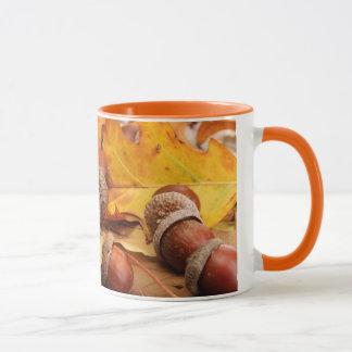 Brown Acorns On Autumn Leaves, Close Up Mug