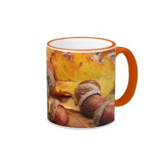 Brown Acorns On Autumn Leaves, Close Up Ringer Mug