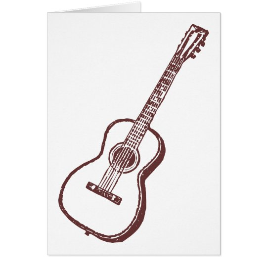 Brown Acoustic Classical Guitar Card