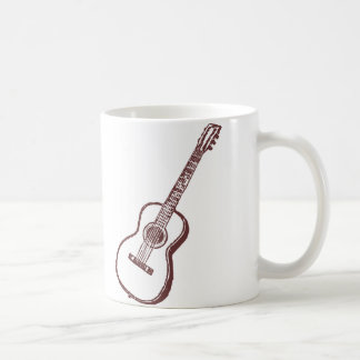 Brown Acoustic Classical Guitar Classic White Coffee Mug