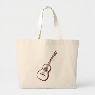 Brown Acoustic Classical Guitar Large Tote Bag