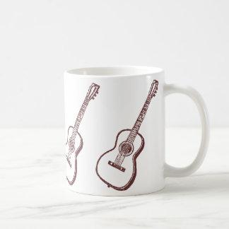 Brown Acoustic Classical Guitar Mugs