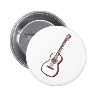 Brown Acoustic Classical Guitar Pinback Button