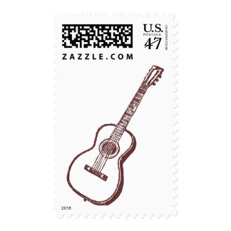 Brown Acoustic Classical Guitar Postage