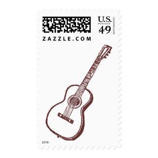 Brown Acoustic Classical Guitar Stamp
