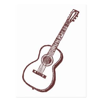 Brown Acoustic Classical Guitar Postcard