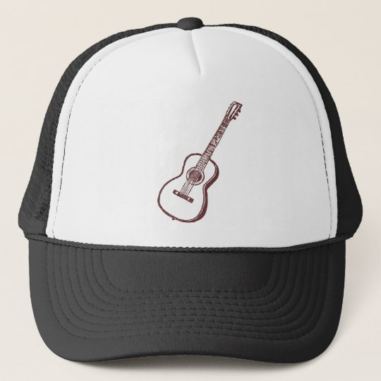Brown Acoustic Classical Guitar Trucker Hat