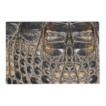 Brown American Alligator Skin Leather Print Placemat