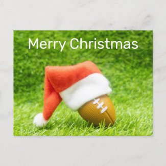 Brown American football Christmas Santa hat Soccer Holiday Postcard