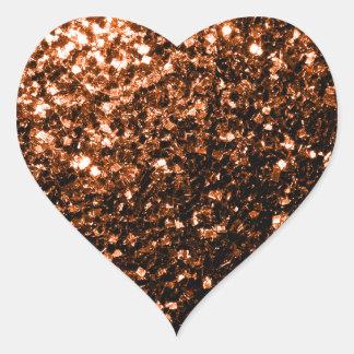 Brown anaranjado de bronce hermoso brilla las pegatina en forma de corazón