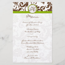 Brown and Apple Green Damask Wedding Menu