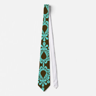brown and aqua blue damask pattern tie