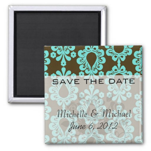 brown and aqua damask 2 inch square magnet