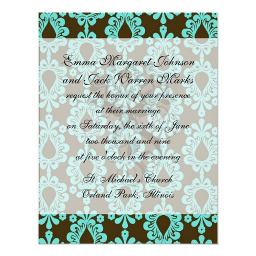 brown and aqua damask announcements