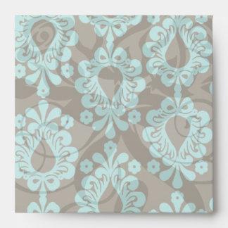 brown and aqua damask envelope