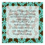 brown and aqua damask personalized invitation