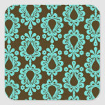 brown and aqua damask square stickers