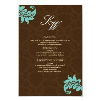 Brown and Aqua Damask Wedding Enclosure Card