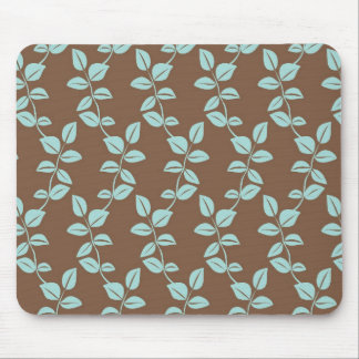 Brown and aqua leaves mouse pad