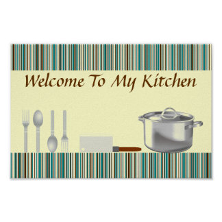 Brown and Aqua Striped Kitchen Poster