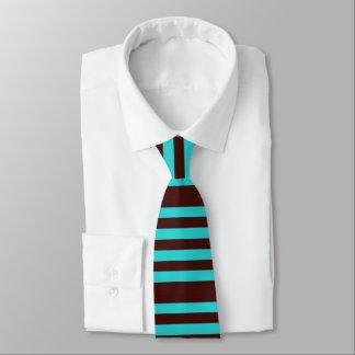 Brown and aqua striped tie