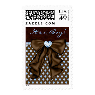 Brown and Baby Blue Baby Shower Stamps