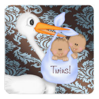 Brown and Baby Blue Damask Twin Baby Shower Card