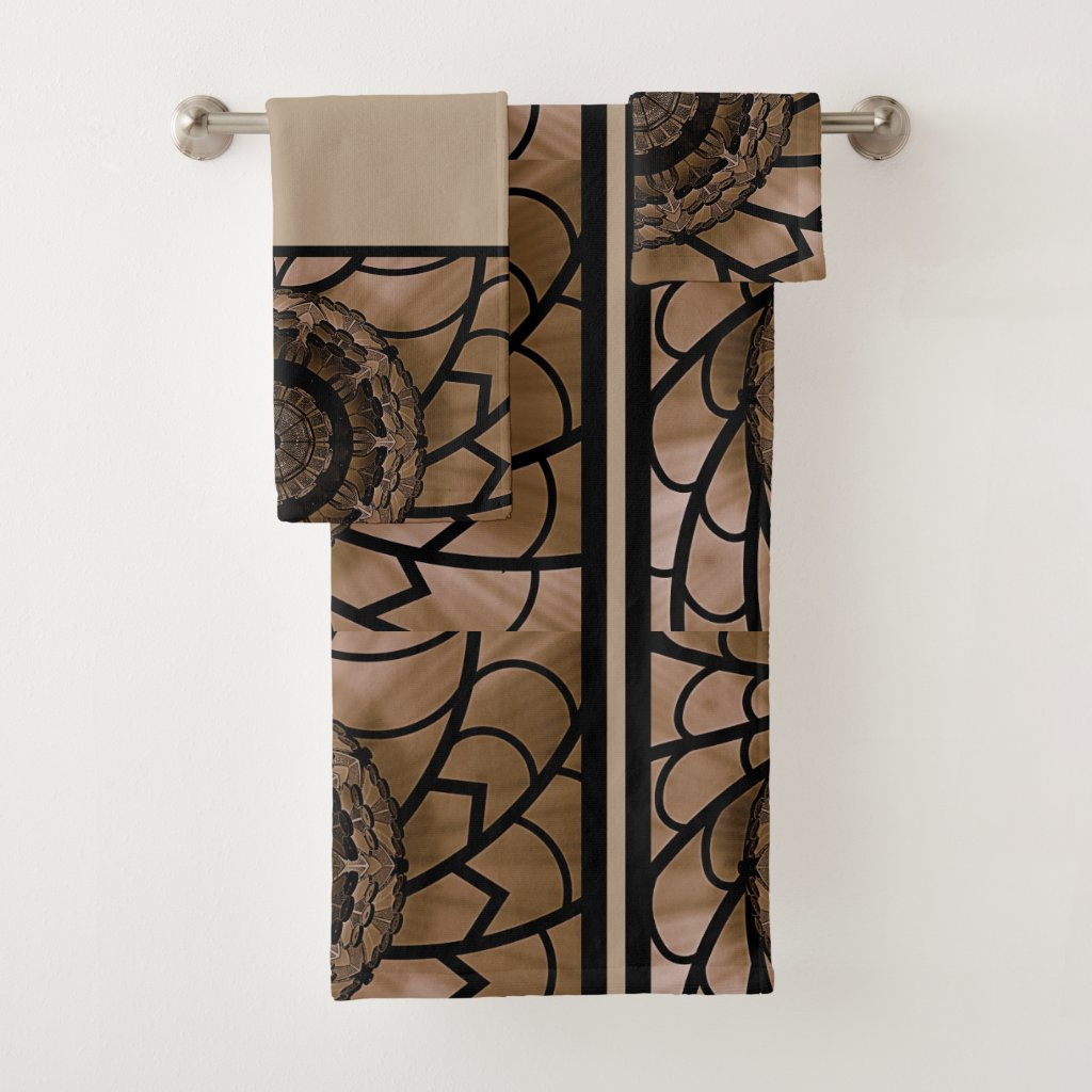 Brown and Beige Abstract Flower Bath Towel Set