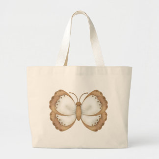 Brown and Beige Butterfly Large Tote Bag