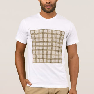 Brown and Beige Check Pattern. T-Shirt