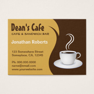 Brown and Beige Coffee Shop Cafe Business Cards