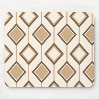 Brown and beige diamonds and lines mouse pad