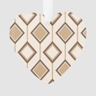 Brown and beige diamonds and lines ornament
