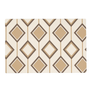 Brown and beige diamonds and lines placemat