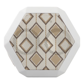 Brown and beige diamonds and lines white bluetooth speaker