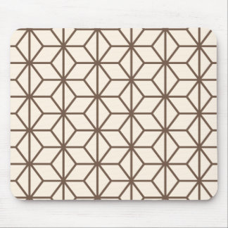 Brown and beige geometric art-deco pattern mouse pad
