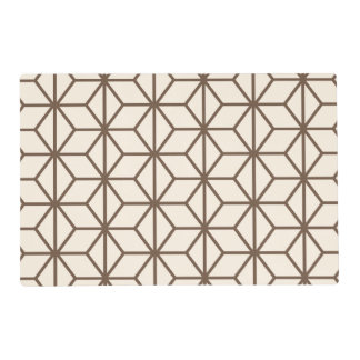 Brown and beige geometric art-deco pattern placemat