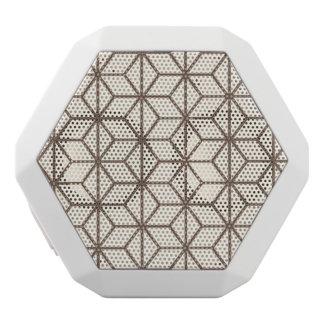 Brown and beige geometric art-deco pattern white bluetooth speaker