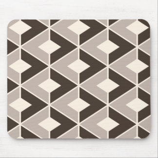 Brown and beige geometric diamonds mouse pad