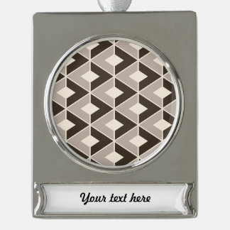 Brown and beige geometric diamonds silver plated banner ornament