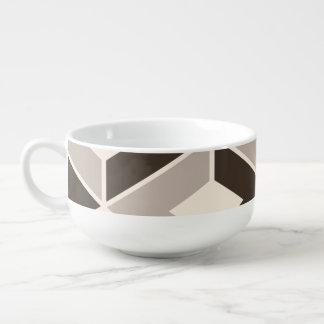 Brown and beige geometric diamonds soup mug