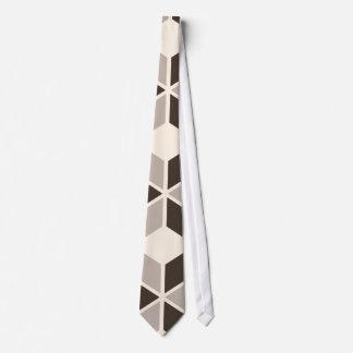 Brown and beige geometric diamonds tie