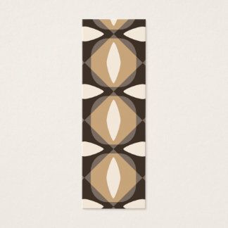 Brown and beige geometric flowers mini business card