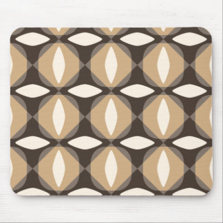 Brown and beige geometric flowers mouse pad