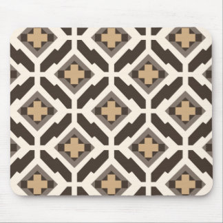 Brown and beige geometric mosaic mouse pad