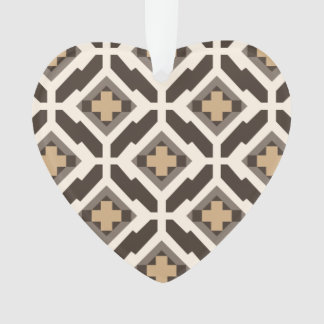 Brown and beige geometric mosaic ornament